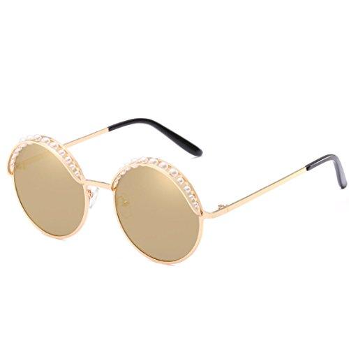 QQBL Persönlichkeit Chao Mann Dame Farbe Film Mosaik Perle Dekorative Kreisförmigen Rahmen Pc Metall UV400 Sonnenbrille,Gold