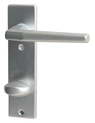 Aluminio Alpertec FLORENCE - manilla para puerta de anodizado para puertas de los baños de inodoro picaporte puerta, 78 mm, plata, 40040650K1