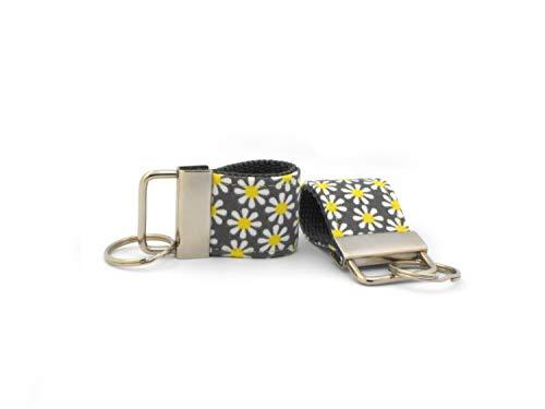 Zwei Schlüsselbänder aus Designer-Baumwolle Gurtband Blumen gelb Rohling Schlüsselring (Baumwoll-gurtband 2)