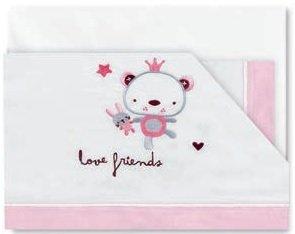 Pirulos 00912314 - Tríptico sábanas, diseño love friends 80 x 140 cm,...