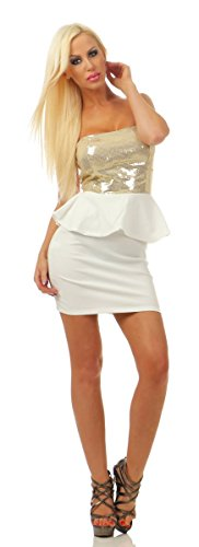 Fashion4Young 4870 Damen Bandeau Minikleid Kleid Party Pailletten Schößchen Schulterfrei Dress (weiß, 36-38)