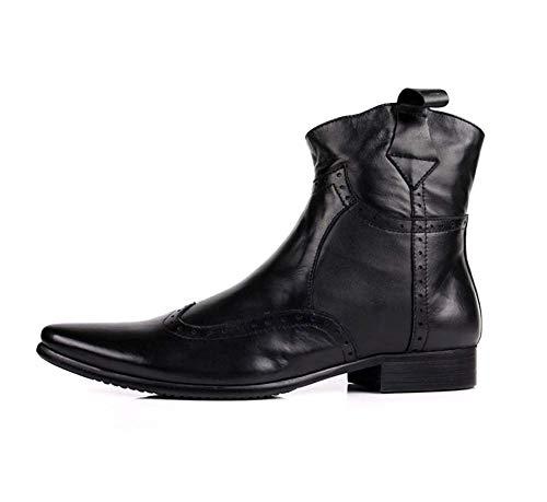 QINGMM Männer Chelsea Boot, Cuban Heel Side-Stiefel mit Reißverschluss, in schwarz und braun Reitstiefeln,Schwarz,39EU -