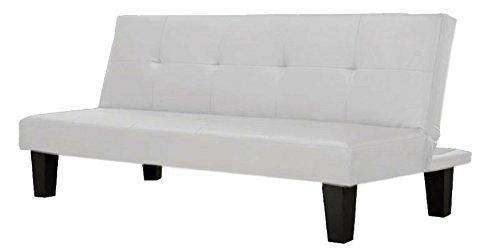 Divano letto in ecopelle bianco 3 posti reclinabile design moderno salotto