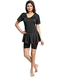 mitushi products Ladies Dyed Swimsuit with Sleeves Black
