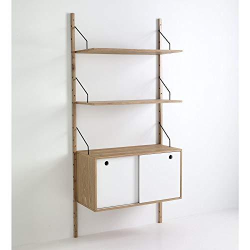 Wink Design Kiju Libreria a Montanti a Parete con 2 Ripiani e 1 Vano, Legno, Marrone, 85x35x180 cm