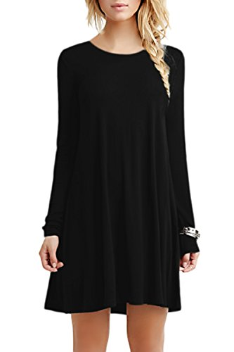 YMING Damen Langarm Kleid Loose Fit Tunic Casual T-Shirt Kleid,Schwarz,M