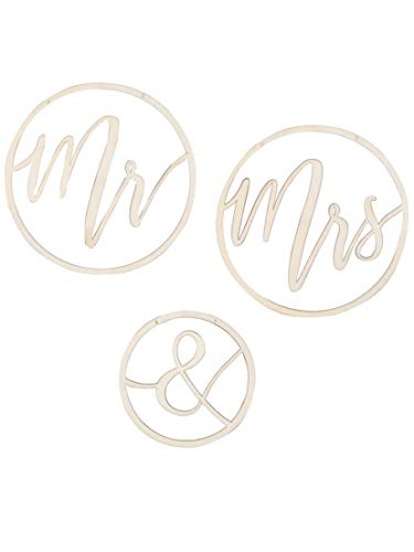 Ginger Ray Mr & Mrs Wooden Hoops Decoration - Gold Wedding Range by