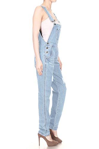 Anna-Kaci Womens Classic Distressed Frayed Denim Bib Overalls Shorts
