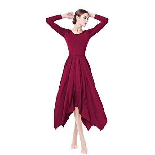 Obeeii donna vestito liturgico manica lunga abito da balletto ginnastica body classico danza combinazione chiesa preghiera coro costume rosso scuro s