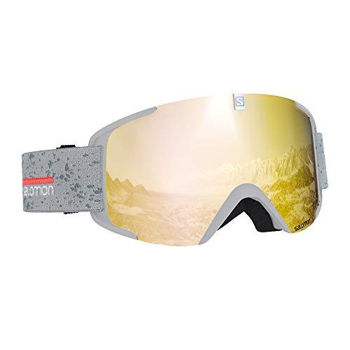 Salomon Unisex Xview Skibrille, für sonniges Wetter, Bronzefarbene Multilayer-Scheibe (auswechselbar), Airflow System, weiß (White Matt), L40519000 -