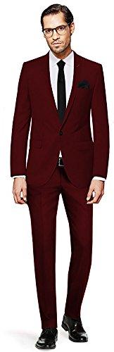 PABLO CASSINI Herren Anzug Fine Art - 3 teilig - Bordeaux Rot Smoking Ein-Knopf Hochzeit Business PCS_6 (114) (Drei-knopf-anzug Individuelle Passform)