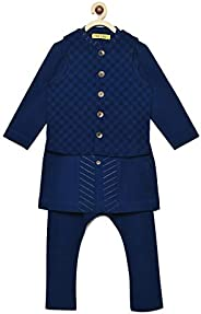 Tiber Taber Boy Bundi Kurta Set Blue Jacquard 3 Pc