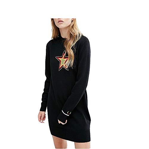 Wuxingqing Vintage Swing Partykleid für Damen Pullover Kleid Star Printing Cable Strickpullover Frauen Winter Stricken Damen Abendkleid (Farbe : Schwarz, Größe : ()