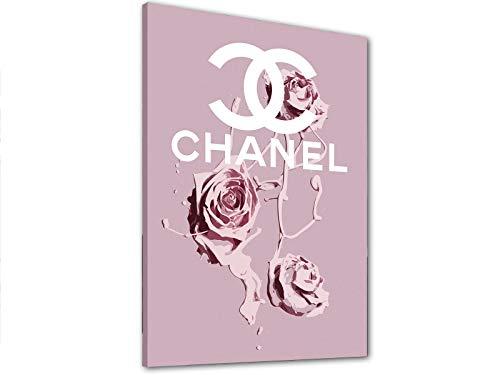 Kuader Tableaux Inspirés De Chanel Roses Tempera Blanches Impression sur Toile d'un Tableau Art Moderne Dècoration Murale Chv54, 40x30 cm