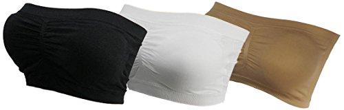 Preisvergleich Produktbild 3x Damen Bandeau Bra trägerlos Unterhemd TOP GoGo Sport Bh Push Up bnu