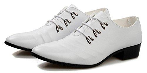 HYLM Männer Business Leder Schuhe Weiß Hochzeit Schuhe Britische Leder Schuhe Casual Schuhe Party Kleid Schuhe , 42 , white (Männer Weißes Kleid Schuhe)