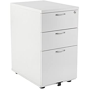 Office Hippo Heavy Duty 3 Drawer Desk High Pedestal, Pre Assembled   Wood,  White