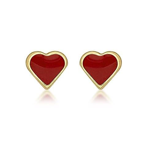 Carissima Gold 9ct Yellow Gold Enamel Heart Stud Earrings