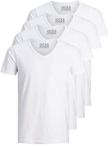 Jack and Jones Herren T-Shirt Basic V-Ausschnitt 4er Pack einfarbig Slim Fit in weiß schwarz blau grau inkl. GRATIS Wäschenetz von B46 (XL, 4er Pack weiß) - Jack Weiss