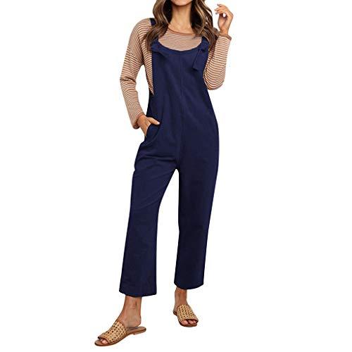 NPRADLA Damen Strampler Große Größe Herbst Beiläufige Lose Cord Sling Vintage Verstellbarer Riemen Taschen Hosen Mädchen Reine Farbe Hosen(Marine,3XL)