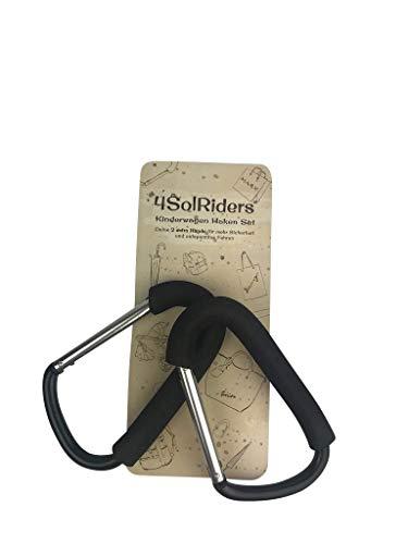 Kinderwagen Karabiner HAKEN 2er-Set von 4SolRiders® – Universal Befestigungshaken für Deine Wickeltasche, Einkaufs-tüte, Rucksack und Tasche