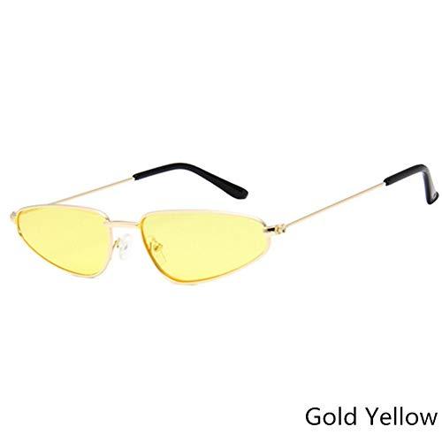 Taiyangcheng Ojo de gato Gafas de sol Moda Mujeres Marco de Metal Gafas de sol Hombres Hd Lens Eyewear Accesorios,ORO Amarillo