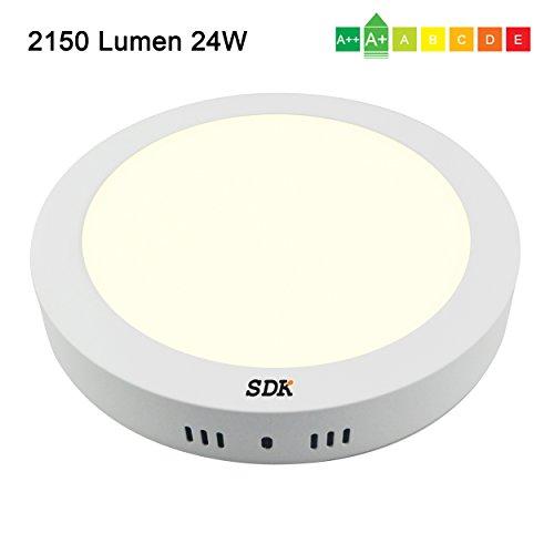 Decke-adapter-kit (SAVONGA® LED Panel, 24W(=155W) 2150Lumen 3000K, rund Φ300x33mm, mit Befestigungsmaterial und Trafo für AC85-265V 50Hz, Deckenleuchte Wandleuchte, Energieklasse A+, warmweiß   LP012W)