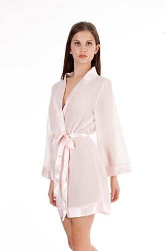 Bella Blue Damen Kimono Satin Pink (Pale Pink)