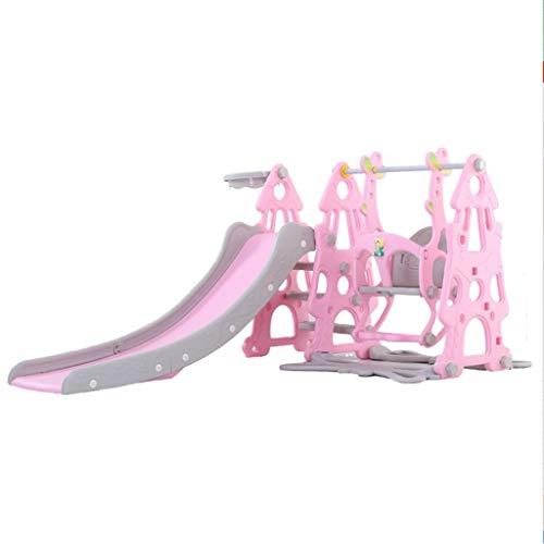 GLY Rutsche Indoor Kinderrutsche Ab 2 Jahre Rutschen 3 In 1 for Jungen Mädchen Indoor Outdoor Backyard Verwenden Spielzeug Kleinkind Kinder Kunststoff Spiel Rutsche Mit Basketballkorb Und Schaukel