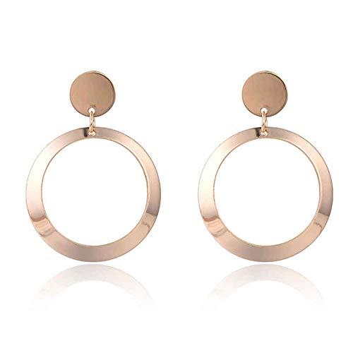 n PendientesOhrrings 2 Colors Large Ohrrings For Women Girls Big Wide Circle Pendant Stud Ohrring Jewelry gold color ()