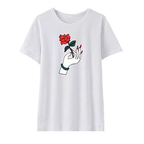 Sexy Kostüm Teen - Bluse Damen Elegant, Frauen Sommer Tops Weiß Mode Lässig Rose Gestickte T-Shirt Blusen Kurzarm O Kragen Kostüm Baumwolle Komfortable Teen Mädchen