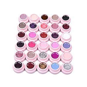 Frenshion Smalto Semipermanente Gel Nail Polish UV LED Ricostruzione Unghie Arte Set di 30 colori (5g/pc)
