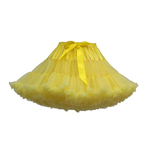 Andouy Damen Tutu Rock Tüll Mini Bogen Plissee Dance Organza Kostüm Prinzessin Dress-up Pettiskirt Größe 34-46(34-46,Gelb)