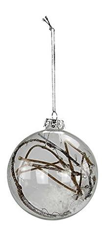 Glas Weihnachtsbaumschmuck deluxe 4 Stück (D) Kugel transparent mit Ästen und Schnee