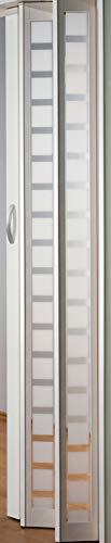 Falttür MARLEY New Generation Fb. Weiss - Fenster Karo weiss-satiniert B 86 x H 205 cm
