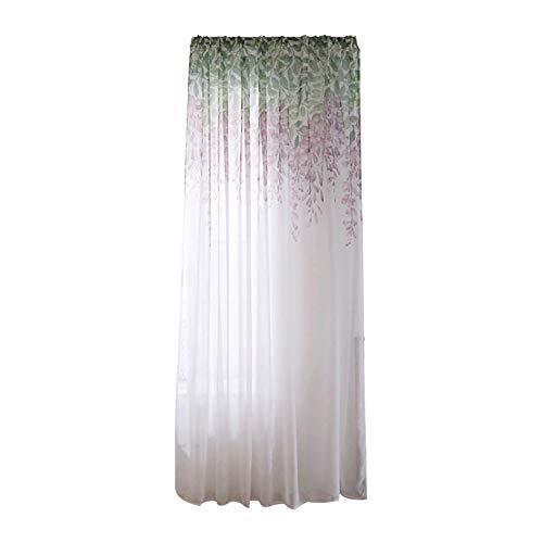 Quanjucheer - tenda in tulle con stampa floreale, per camera da letto, soggiorno, patio, hotel, 100 x 200 cm purple