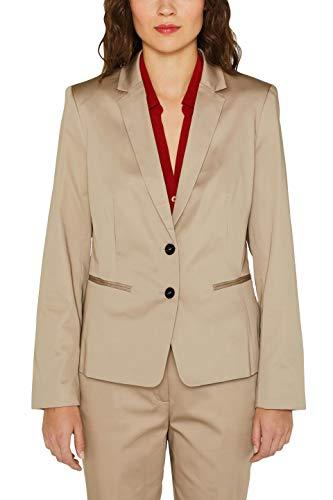 ESPRIT Collection Damen 049EO1G003 Anzugjacke, Beige (Light Taupe 260), Herstellergröße: 34