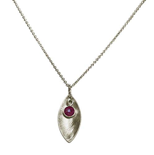 Gemshine - Collar - Colgante - Plata de Ley - MARQUISE - Rubí - Rojo - 45 cm