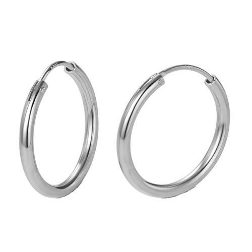 Pendientes De Aro para Mujer Plata de ley 925 círculo Aretes Pendientes Hoops - Diámetro: 20 mm