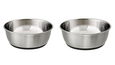 Antirutsch Napf-Set Edelstahl 2700 ml schwer für Hunde Futternapf und Wassernapf