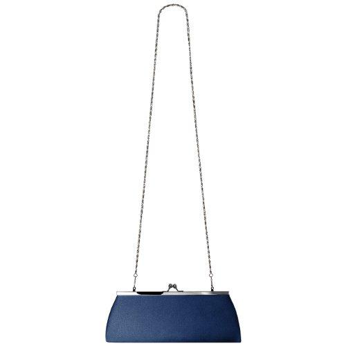 CASPAR TA309 Donna Clutch in Raso Blu scuro