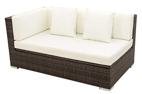 OUTFLEXX 2-Sitzer Ecksofa aus hochwertigem Polyrattan, braun marmoriert mit Kissenbox-Funktion, Armlehne rechts, inkl. Kissen, Lounge-Sofa, Couch, wetterfest, rostfrei, Boxfunktion