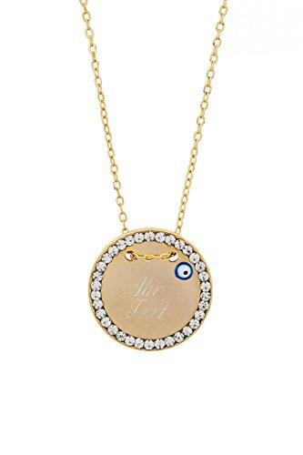 Remi Bijou Halskette MIT Gravur - Gravurplatte 2,5 cm mit Strasssteinen Blaues Auge Nazar Boncuk, ColorName:Gold