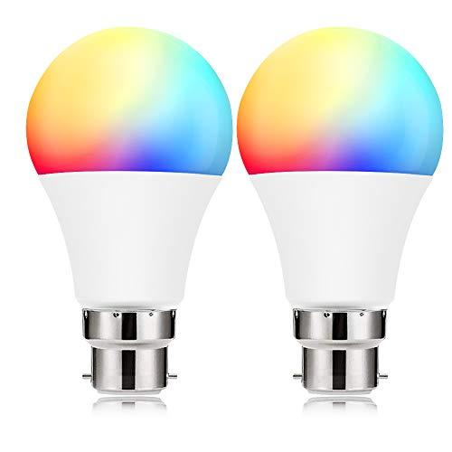 BrizLabs Smart WLAN Lampe 9W LED Glühbirne B22 Birne Wifi Glühlampe 806LM, App Dimmbare RGB Bulb Kompatibel mit IFTTT Amazon Alexa (Echo, Echo Dot) Google Assistant, 2 Stück