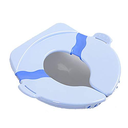 Coprisedile pieghevole per WC - grande, pieghevole, portatile, riutilizzabile, con cuscinetti in silicone antiscivolo, borsa per il trasporto inclusa, blu