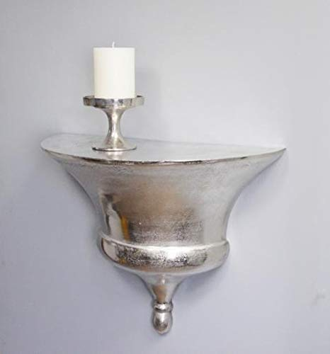 MichaelNoll Wandkonsole Aluminium Silber Ablage Wandregal 52 cm