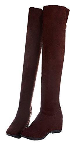 Alto Solido Ginocchio Donna Ageemi Al Camoscio Marrone Di Con Stivali Assume Scarpe Colore Tacco 47dqw4