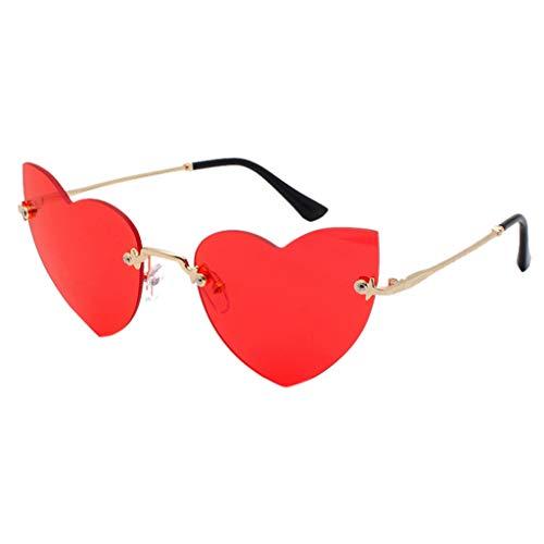 Lazzboy Polarisierte Sonnenbrille Für Frauen Mann Verspiegelte Linse Mode Brille Brillen Hippy Herz Geformt For Hippie Verrücktes Kleid Zubehörteil(Rot)