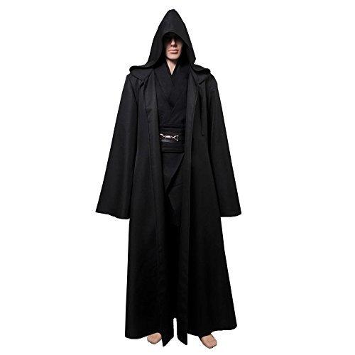 Lackingone Star Wars Kostüm Anakin Skywalker Kostüm Jedi Kostüme für Erwachsene Schwarz (M) (Anakin Skywalker Kostüm Schwarz)