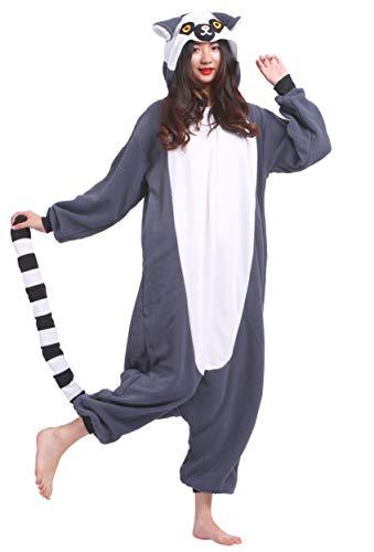 (Unisex Kigurumi Jumpsuit Tier Pyjamas Kostüm Fasching Onesie Damen Herren Karneval Cosplay Nachtwäsche, Long Tail AFFE)